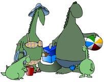 stranddinosaurs royaltyfri illustrationer