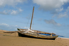 Stranded Boat. Boat stranded on a beach Royalty Free Stock Photos