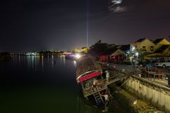 Stranded boat in Hoi an, Vietnam. royalty free stock photo