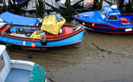 Stranded boats at low tide, Scarborough Stock Photography