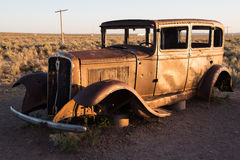 Stranded car in Petrified Forest National Park Royalty Free Stock Photos