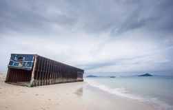stranded container on Koh Bulon Leh / Thailand Royalty Free Stock Photo