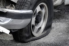 Flat Tire Vehicle Car on Road Danger Dangerous Stranded Stock Photography