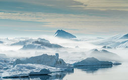 Stranded icebergs in the fog at the mouth of the Icefjord near I Stock Photography