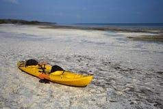 Stranded Kayak. Low Tide on Long Key, Florida Keys Stock Photography