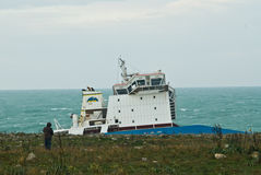 Stranded petrol ship in Sicily. Syracuse, Sicily - March 11: an petrol cargo ship is stranded in the cost of syracuse cause of the bad weather condition, an Royalty Free Stock Photography