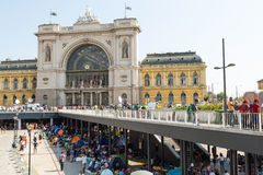 Stranded Refugee and Migrants camping in front of the Keleti Tra Royalty Free Stock Photography