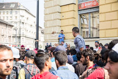 Stranded Refugees protest in front of the Keleti Train station Royalty Free Stock Photo