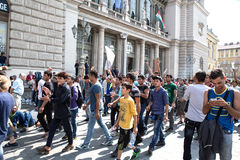 Stranded Refugees protest in front of the Keleti Train station Royalty Free Stock Photos