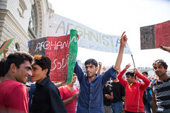 Stranded Refugees protest in front of the Keleti Train station Royalty Free Stock Images