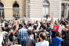 Stranded Refugees protest in front of the Keleti Train station d Stock Photo