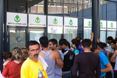 Stranded Refugees waiting to obtain assistance in the Keleti Tra Royalty Free Stock Photography