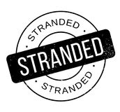 Stranded rubber stamp. Grunge design with dust scratches. Effects can be easily removed for a clean, crisp look. Color is easily changed Stock Image
