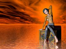 Stranded AT Sea. Girl stranded on chair in ocean stock images