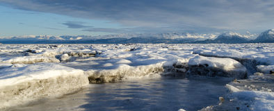 Stranded Sea Ice. View of sea ice broken up by the cycle of the tide in Homer Alaska Royalty Free Stock Photo