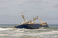 Stranded Ship. On the Namibian coast royalty free stock images