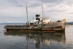 Stranded ship in Beagle Channel Royalty Free Stock Images