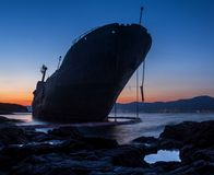 Stranded ship in blue hour royalty free stock image