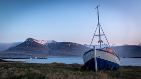 Stranded. A stranded ship in an Icelandic Fjord royalty free stock photo