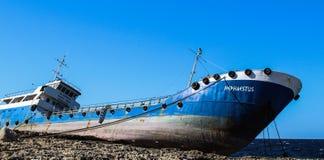 Stranded ship on the rocks buggiba 12.03.2018. royalty free stock photo