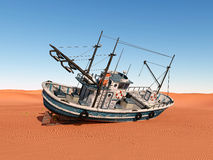 Stranded trawler. Computer generated 3D illustration with a stranded trawler Royalty Free Stock Images