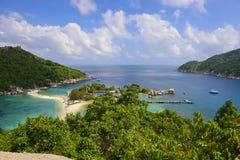 Strandeiland Koh Nang Yuan, Thailand Stock Afbeeldingen