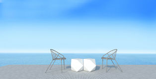 Stranden är slö med sundeck på havssikten för semester och summer-3 stock illustrationer