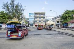 Stranden åker taxi Thailand Arkivfoto