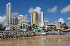 Stranden av Ponta Negra på födelse- på Brasilien royaltyfri foto