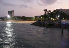 Stranden av Townswille i natt Arkivfoton
