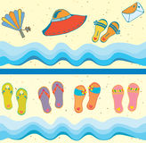 stranden borders den seamless seten stock illustrationer
