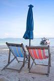 stranden chairs däcket Royaltyfria Bilder