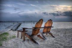 stranden chairs hdr Arkivbild