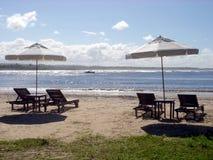 stranden chairs paraplyer arkivbilder