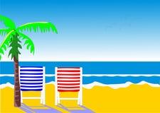 stranden chairs två Arkivbilder