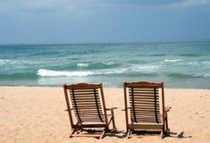 stranden chairs två Royaltyfri Fotografi