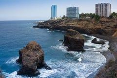 Stranden en hotels van Puerto de la Cruz, Tenerife stock afbeeldingen