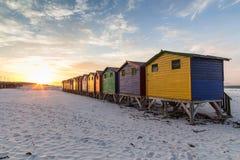 Stranden förlägga i barack Muizenberg royaltyfri fotografi