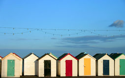 stranden förlägga i barack rad Royaltyfri Fotografi