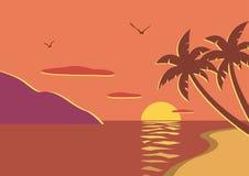 stranden gömma i handflatan solnedgångtrees Royaltyfri Bild