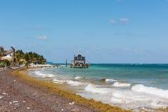 Stranden i Mahahual, Mexico Arkivbilder