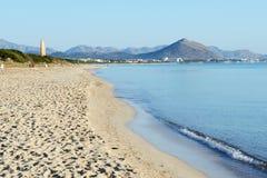 Stranden i Playa de Muro Arkivfoto