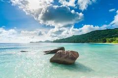 Stranden i Seychellerna med vaggar och skogen i bakgrund arkivbilder