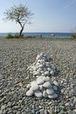 stranden luna piles den släta rocken Arkivbilder