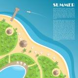 Stranden med en skeppsdocka, en stång, en simbassäng och soldagdrivare Vektor Illustrationer