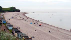 Stranden på Budleigh Salterton en feriesemesterort i Devon South West England arkivbild