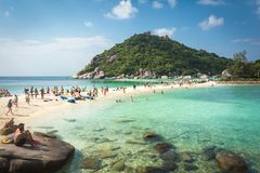 Stranden på den Nang Yuan ön, Thailand Royaltyfri Fotografi