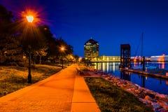 Stranden på natten i kanton, Baltimore, Maryland arkivfoton