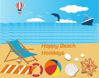 Stranden semestrar njutning med en orange fruktsaft stock illustrationer