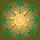 Stranden sol, gömma i handflatan - illustrationen Royaltyfri Fotografi